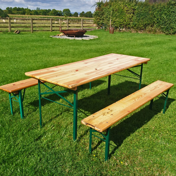 Wooden table and bench hire