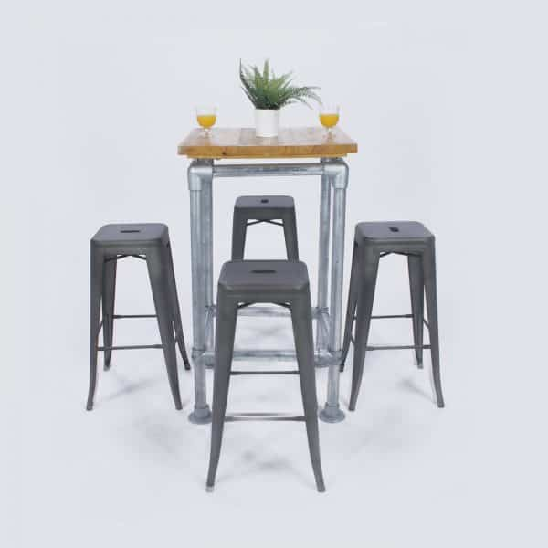 Rustic Industrial Poseur Table and 4 Industrial Stools