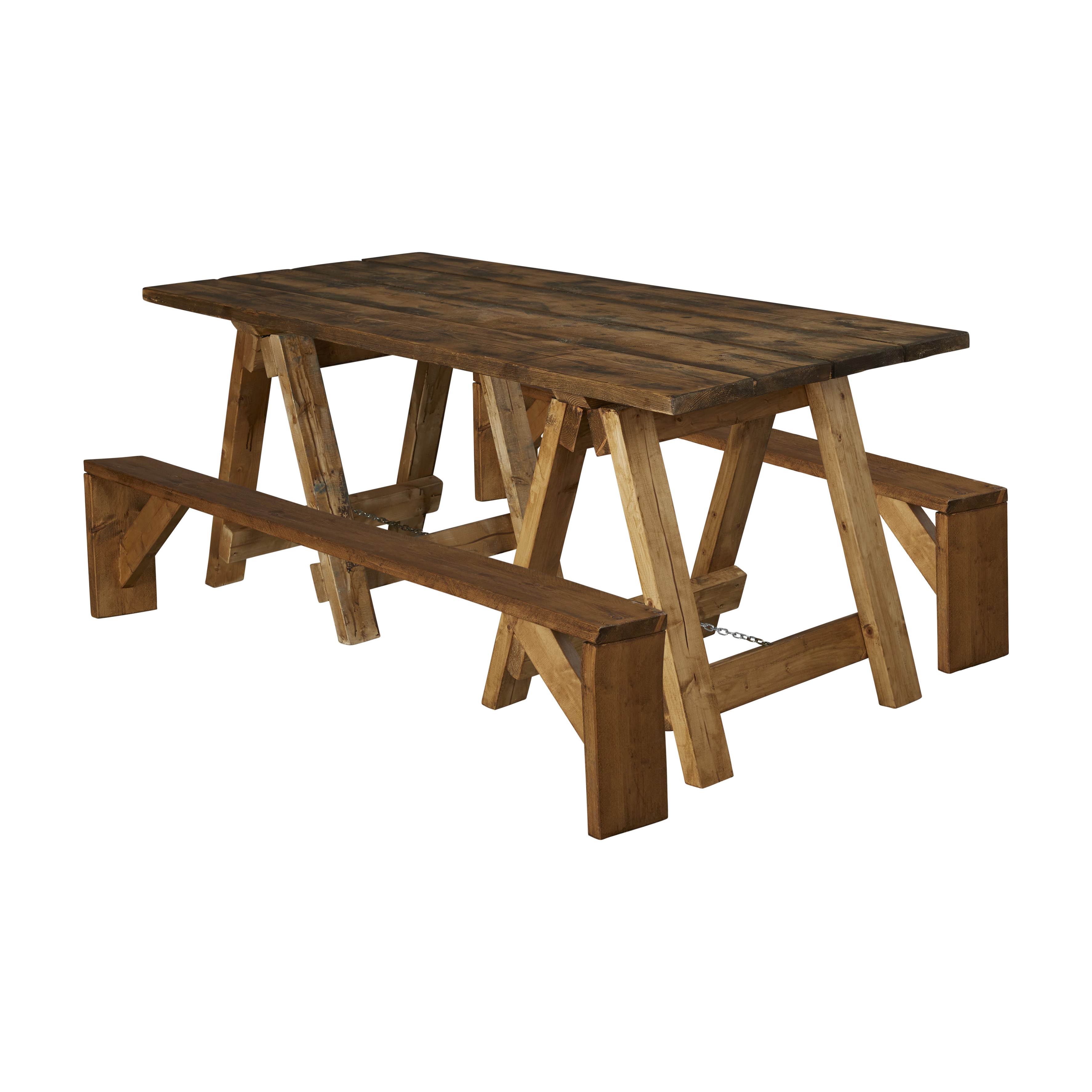 Wooden Trestle Table and bench Hire Package
