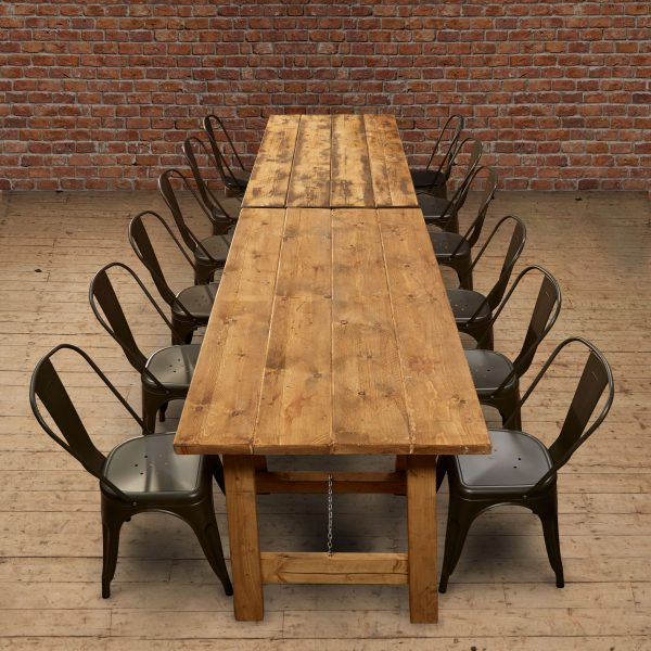Wooden Tables and Metal Chairs to hire