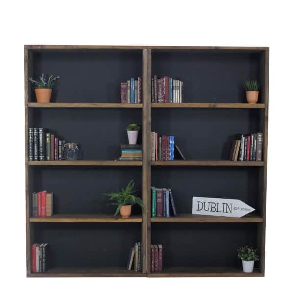 Bookcase dressed with props