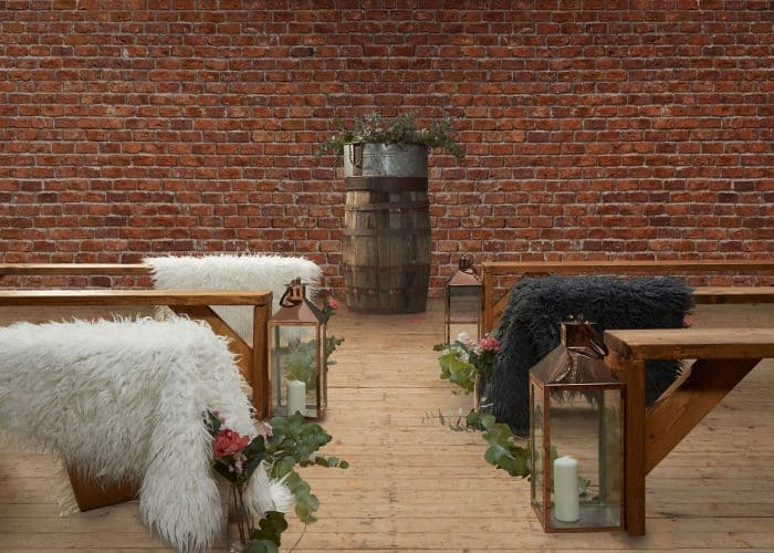 Scandi boho wedding aisle setup