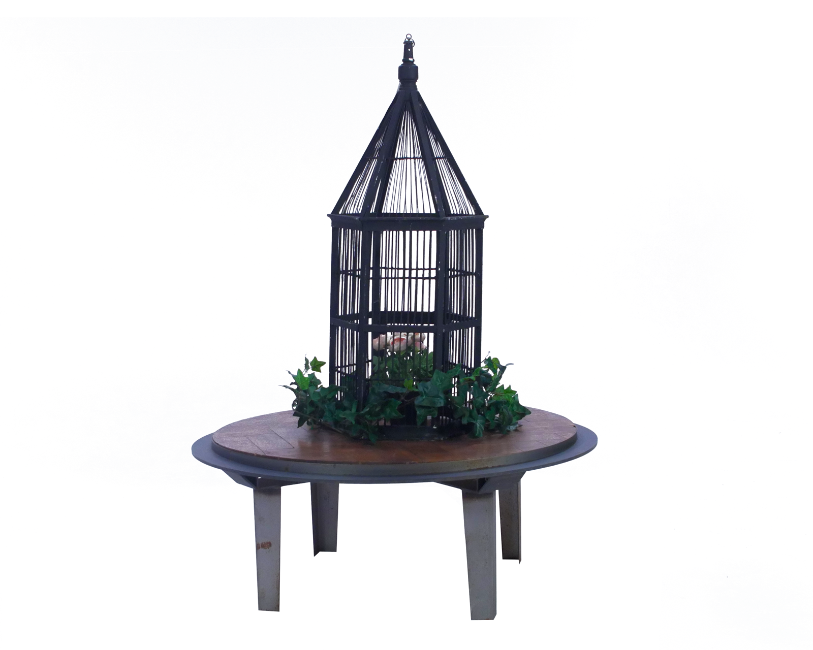 Black Wooden Birdcage, on wooden table, with floral dressing