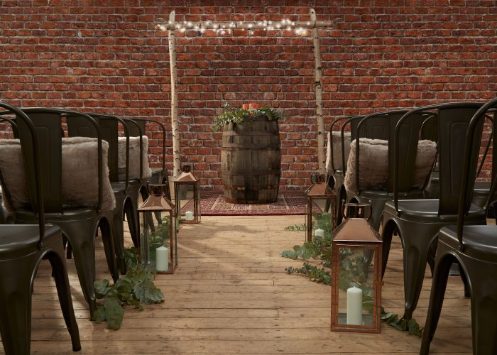 Chairs, Arch and Decor for Industrial Wedding Aisle
