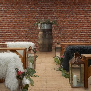 Rustic Benches, Barrel, Lanterns and Fluffy Throws